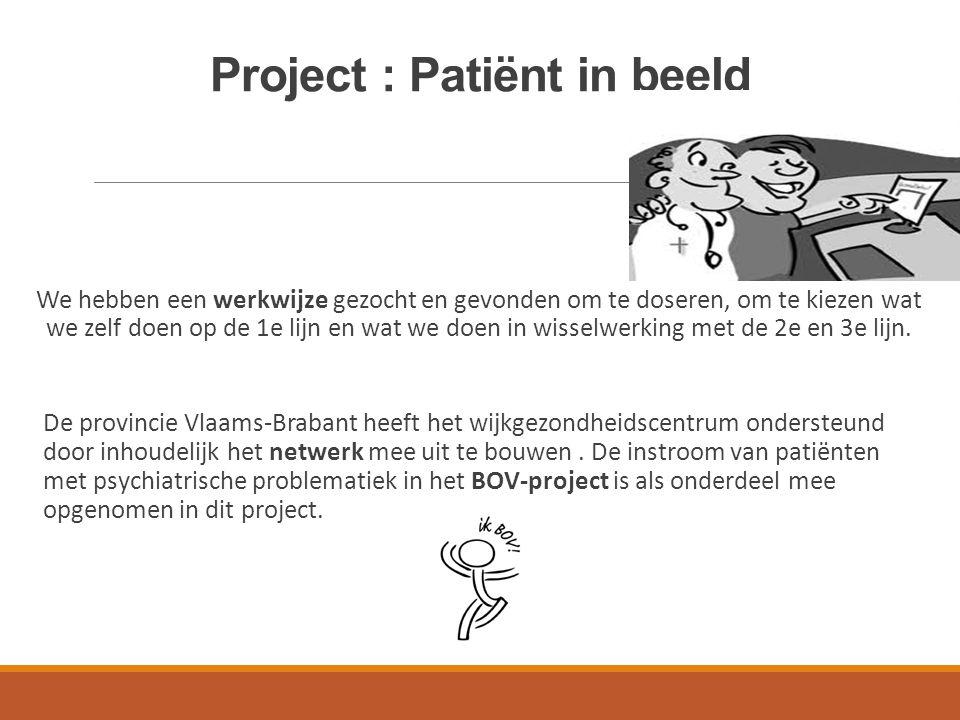 Project : Patiënt in beeld We hebben een werkwijze gezocht en gevonden om te doseren, om te kiezen wat we zelf doen op de 1e lijn en wat we doen in wi