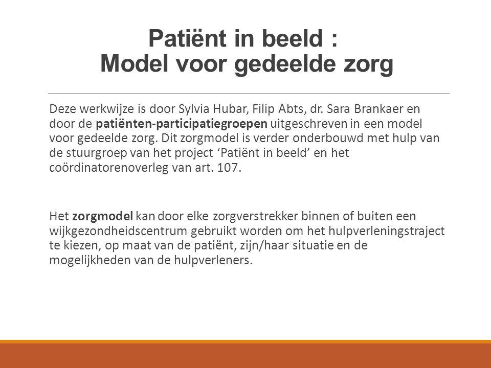 Model voor gedeelde zorg : kernprincipes 4 patiëntengroepen gedefinieerd : Regisseurs, zoekers, voorbijganger en de zorgmijders Aanpak afhankelijk van inzicht en motivatie van patiënt Focus op herstel en ervaringskennis Getrapte zorg, gedeelde zorg, standby principe