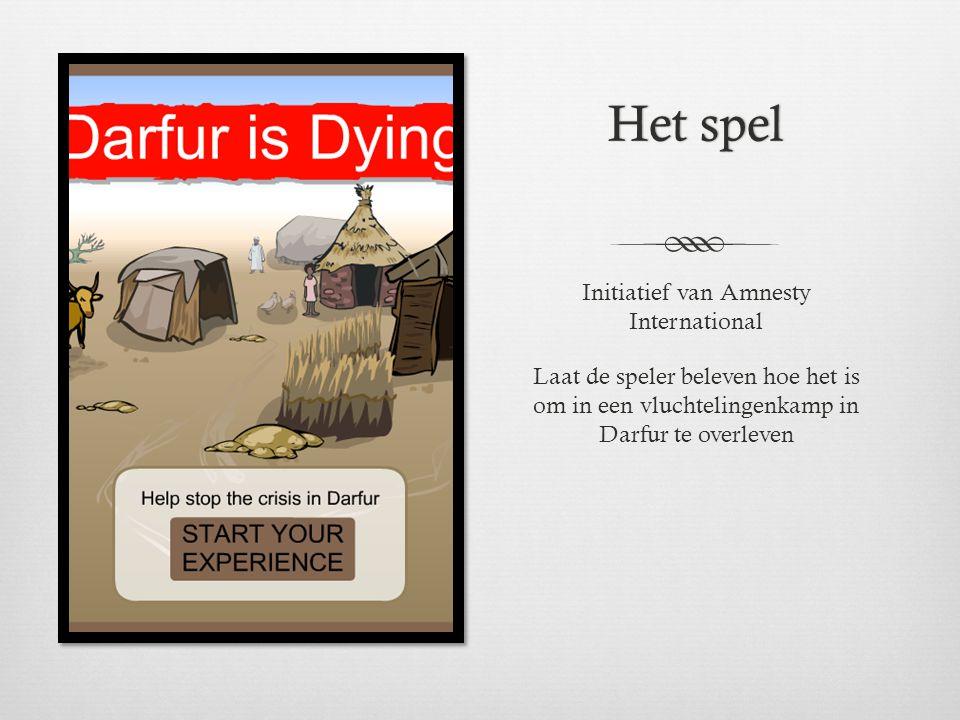 Het spelHet spel Initiatief van Amnesty International Laat de speler beleven hoe het is om in een vluchtelingenkamp in Darfur te overleven