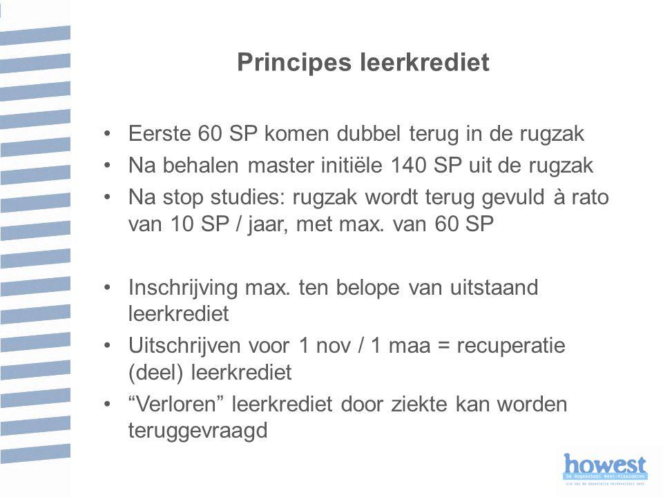 Principes leerkrediet Eerste 60 SP komen dubbel terug in de rugzak Na behalen master initiële 140 SP uit de rugzak Na stop studies: rugzak wordt terug gevuld à rato van 10 SP / jaar, met max.
