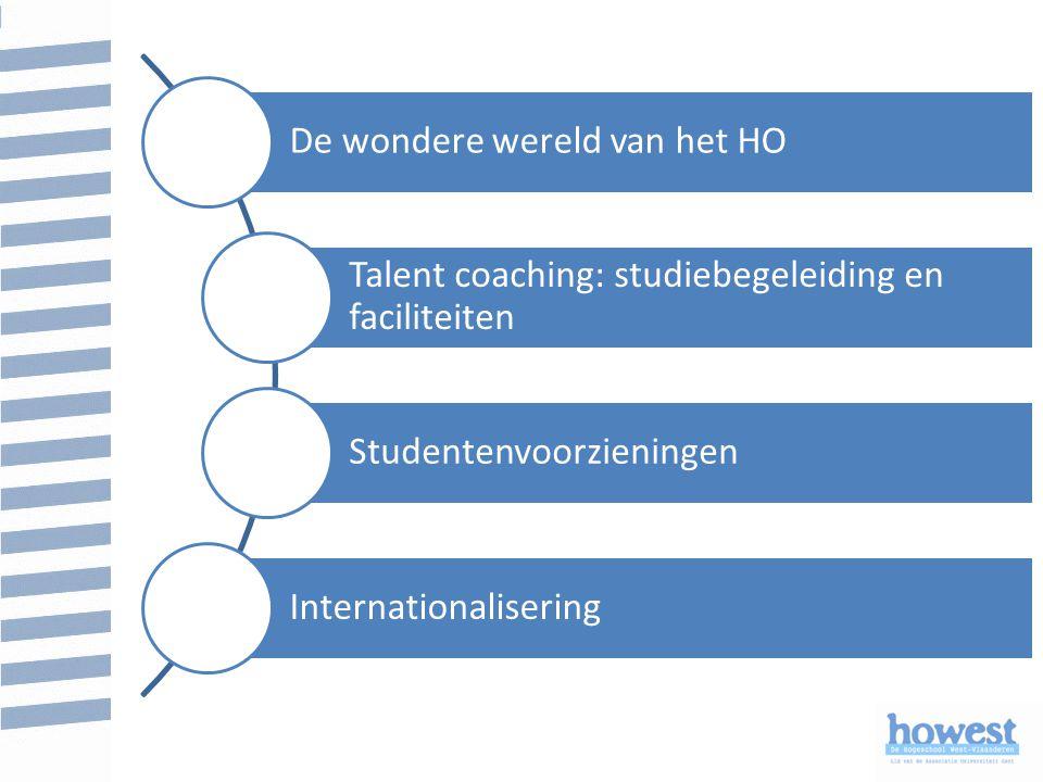 De wondere wereld van het HO Talent coaching: studiebegeleiding en faciliteiten Studentenvoorzieningen Internationalisering