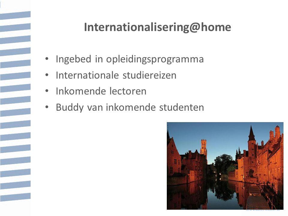 Internationalisering@home Ingebed in opleidingsprogramma Internationale studiereizen Inkomende lectoren Buddy van inkomende studenten