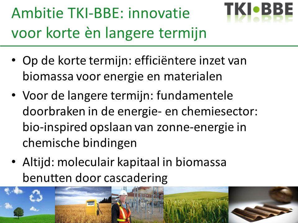 Ambitie TKI-BBE: innovatie voor korte èn langere termijn Op de korte termijn: efficiëntere inzet van biomassa voor energie en materialen Voor de langere termijn: fundamentele doorbraken in de energie- en chemiesector: bio-inspired opslaan van zonne-energie in chemische bindingen Altijd: moleculair kapitaal in biomassa benutten door cascadering