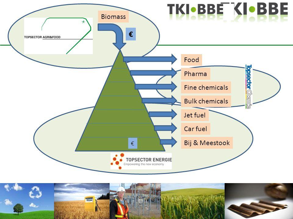 Food Fine chemicals Bulk chemicals Jet fuel Car fuel Bij & Meestook Pharma Biomass € €