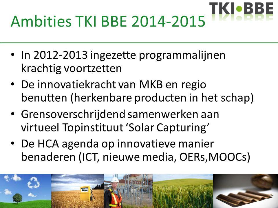 Ambities TKI BBE 2014-2015 In 2012-2013 ingezette programmalijnen krachtig voortzetten De innovatiekracht van MKB en regio benutten (herkenbare producten in het schap) Grensoverschrijdend samenwerken aan virtueel Topinstituut 'Solar Capturing' De HCA agenda op innovatieve manier benaderen (ICT, nieuwe media, OERs,MOOCs)