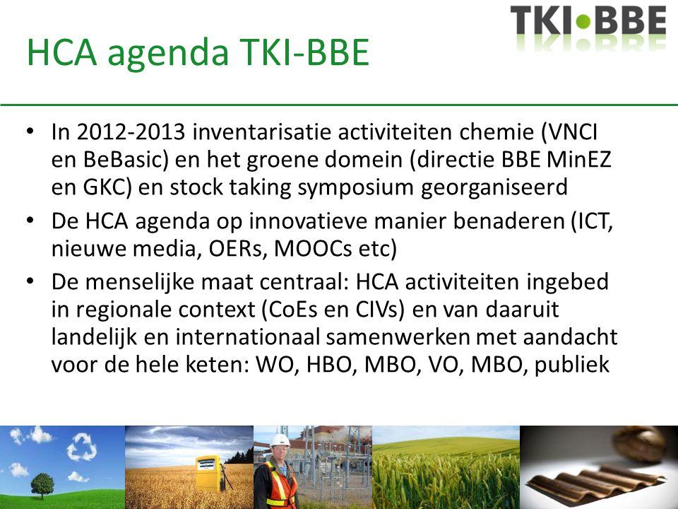 HCA agenda TKI-BBE In 2012-2013 inventarisatie activiteiten chemie (VNCI en BeBasic) en het groene domein (directie BBE MinEZ en GKC) en stock taking symposium georganiseerd De HCA agenda op innovatieve manier benaderen (ICT, nieuwe media, OERs, MOOCs etc) De menselijke maat centraal: HCA activiteiten ingebed in regionale context (CoEs en CIVs) en van daaruit landelijk en internationaal samenwerken met aandacht voor de hele keten: WO, HBO, MBO, VO, MBO, publiek