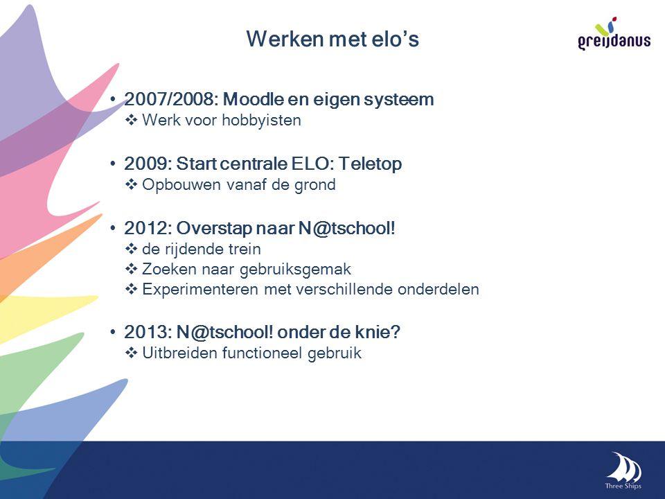 2007/2008: Moodle en eigen systeem  Werk voor hobbyisten 2009: Start centrale ELO: Teletop  Opbouwen vanaf de grond 2012: Overstap naar N@tschool.