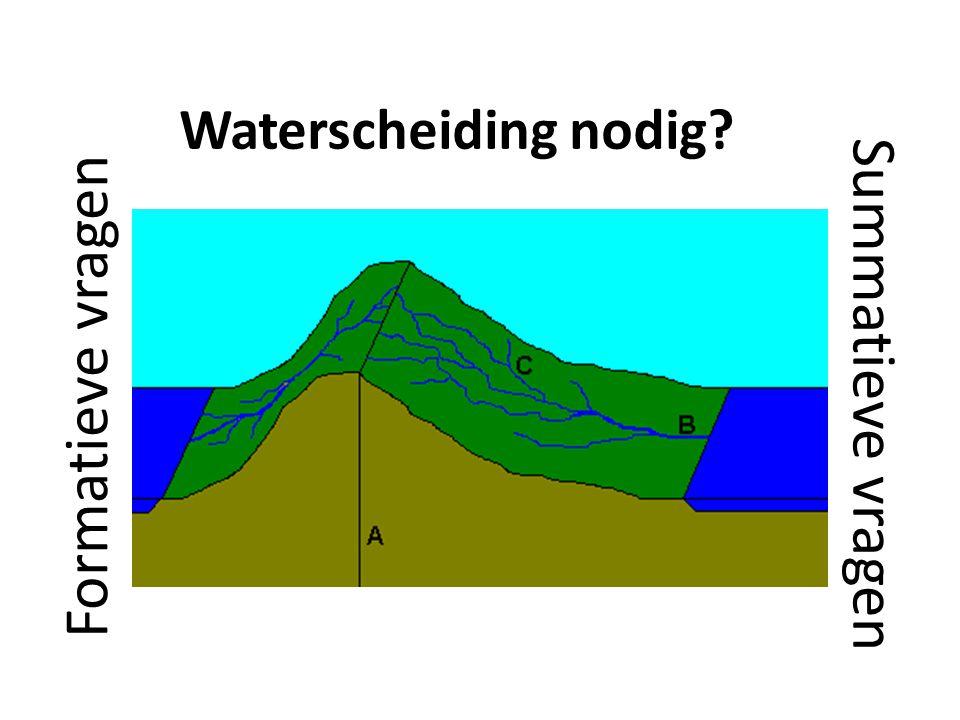 Waterscheiding nodig? Formatieve vragen Summatieve vragen