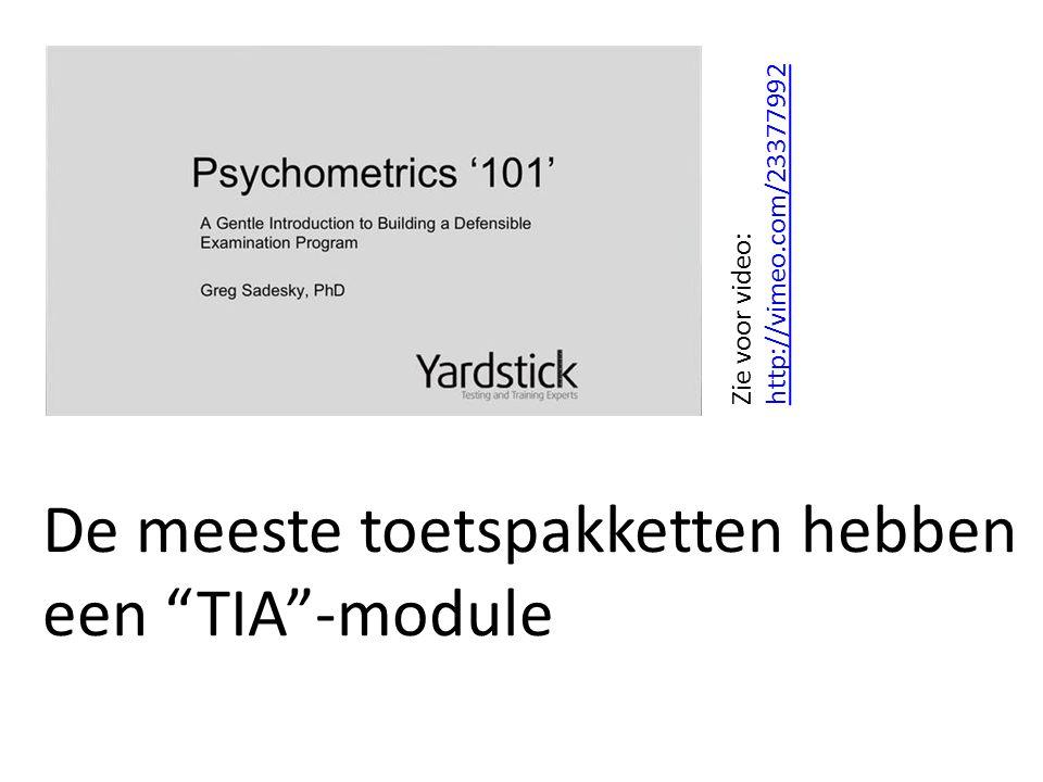"""De meeste toetspakketten hebben een """"TIA""""-module Zie voor video: http://vimeo.com/23377992 http://vimeo.com/23377992"""