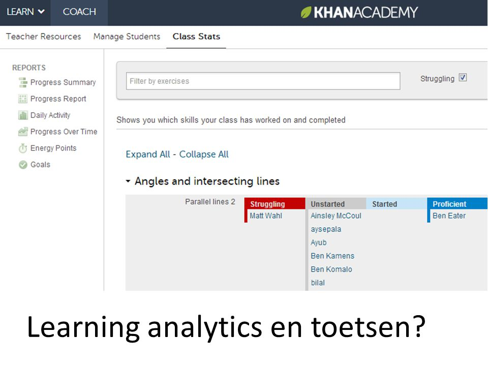 Learning analytics en toetsen?