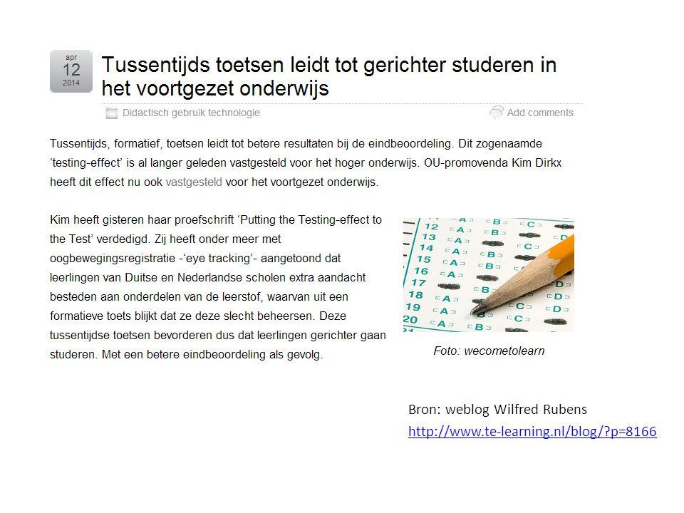 Bron: weblog Wilfred Rubens http://www.te-learning.nl/blog/ p=8166