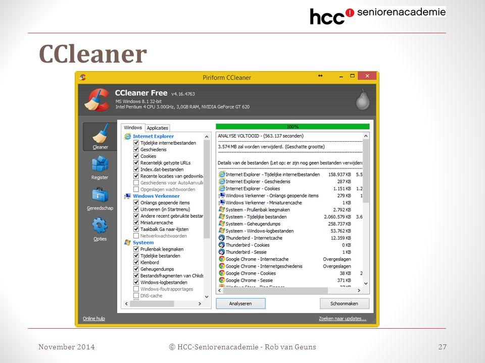 CCleaner November 2014© HCC-Seniorenacademie - Rob van Geuns27