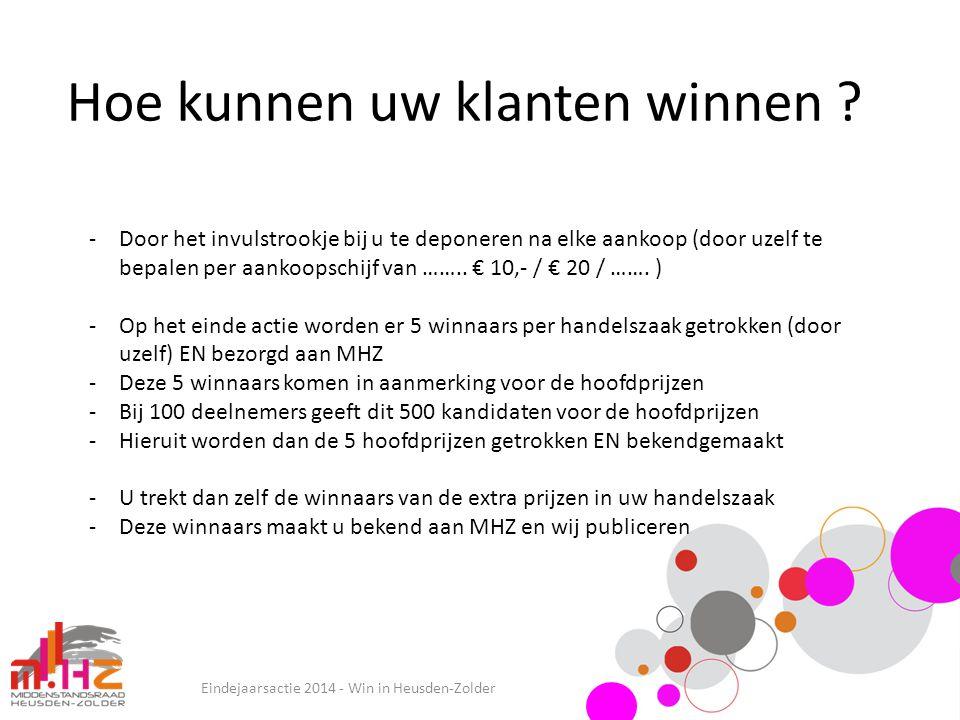 Hoe kunnen uw klanten winnen ? Eindejaarsactie 2014 - Win in Heusden-Zolder -Door het invulstrookje bij u te deponeren na elke aankoop (door uzelf te