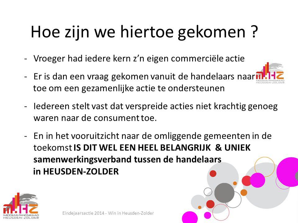 Hoe zijn we hiertoe gekomen ? Eindejaarsactie 2014 - Win in Heusden-Zolder -Vroeger had iedere kern z'n eigen commerciële actie -Er is dan een vraag g