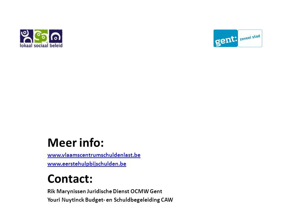 Meer info: www.vlaamscentrumschuldenlast.be www.eerstehulpbijschulden.be Contact: Rik Marynissen Juridische Dienst OCMW Gent Youri Nuytinck Budget- en Schuldbegeleiding CAW