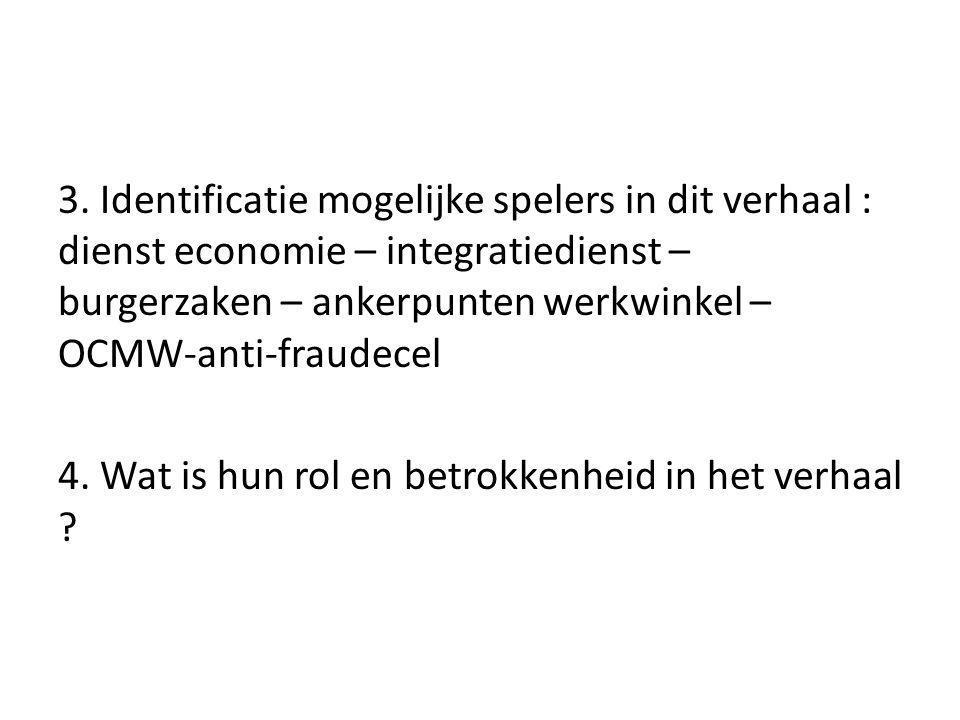 3. Identificatie mogelijke spelers in dit verhaal : dienst economie – integratiedienst – burgerzaken – ankerpunten werkwinkel – OCMW-anti-fraudecel 4.