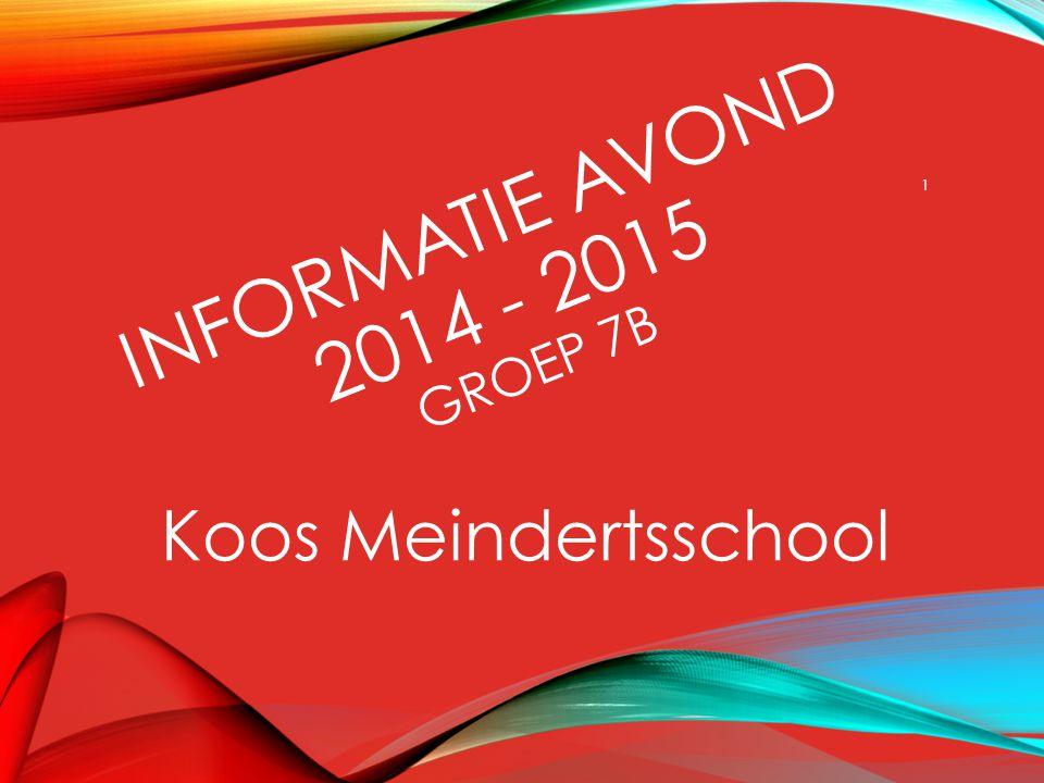 INFORMATIE AVOND 2014 - 2015 GROEP 7B Koos Meindertsschool 1