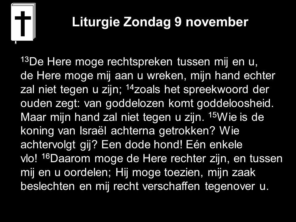 Liturgie Zondag 9 november 13 De Here moge rechtspreken tussen mij en u, de Here moge mij aan u wreken, mijn hand echter zal niet tegen u zijn; 14 zoa