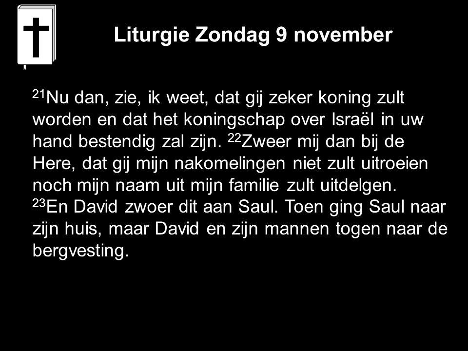 Liturgie Zondag 9 november 21 Nu dan, zie, ik weet, dat gij zeker koning zult worden en dat het koningschap over Israël in uw hand bestendig zal zijn.