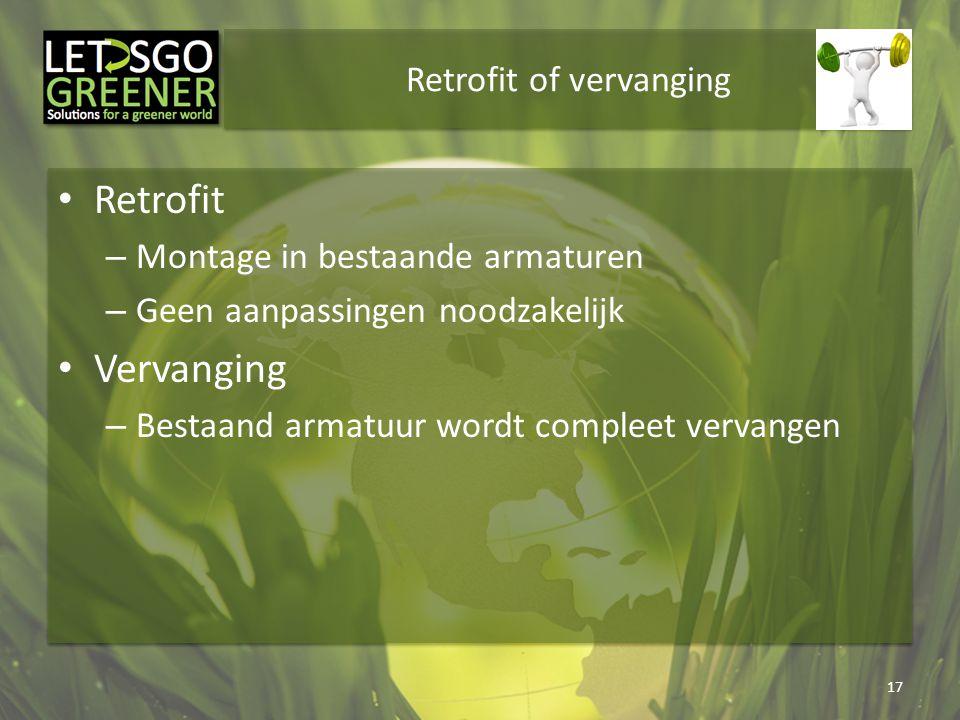 Retrofit of vervanging Retrofit – Montage in bestaande armaturen – Geen aanpassingen noodzakelijk Vervanging – Bestaand armatuur wordt compleet vervan