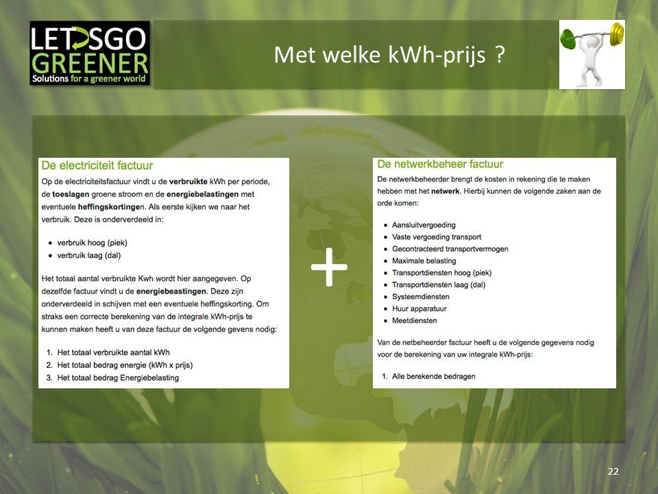 Met welke kWh-prijs ? 22 +