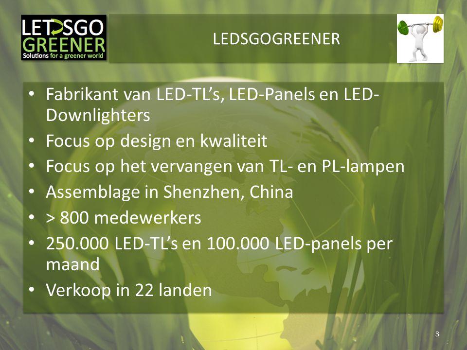 LEDSGOGREENER Fabrikant van LED-TL's, LED-Panels en LED- Downlighters Focus op design en kwaliteit Focus op het vervangen van TL- en PL-lampen Assembl
