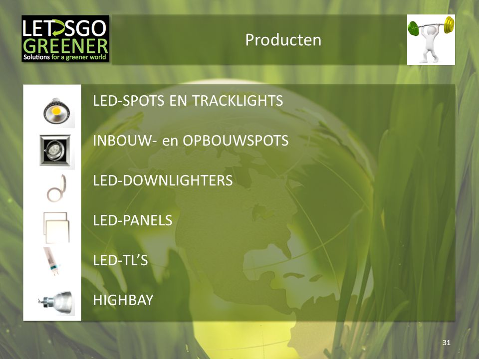 Producten 31 LED-SPOTS EN TRACKLIGHTS INBOUW- en OPBOUWSPOTS LED-DOWNLIGHTERS LED-PANELS LED-TL'S HIGHBAY