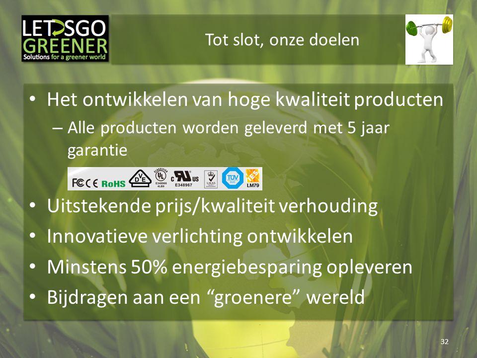 Tot slot, onze doelen Het ontwikkelen van hoge kwaliteit producten – Alle producten worden geleverd met 5 jaar garantie Uitstekende prijs/kwaliteit ve