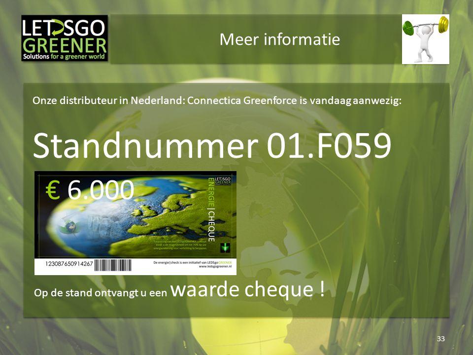 Meer informatie 33 Onze distributeur in Nederland: Connectica Greenforce is vandaag aanwezig: Standnummer 01.F059 Op de stand ontvangt u een waarde ch