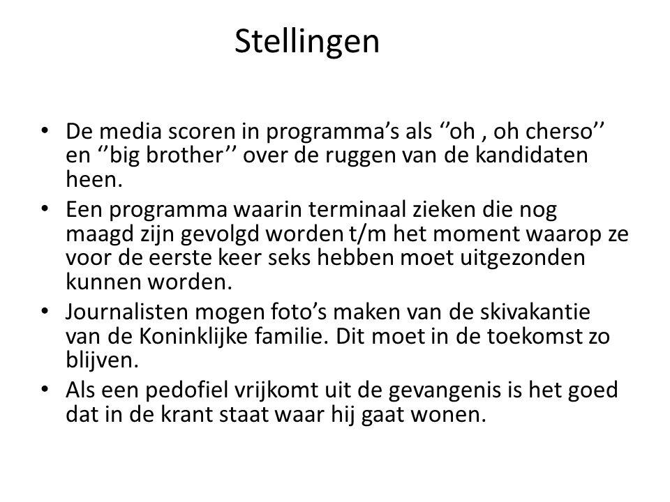 Stellingen De media scoren in programma's als ''oh, oh cherso'' en ''big brother'' over de ruggen van de kandidaten heen.