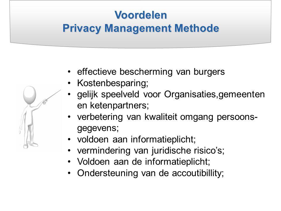 Voordelen Privacy Management Methode effectieve bescherming van burgers Kostenbesparing; gelijk speelveld voor Organisaties,gemeenten en ketenpartners