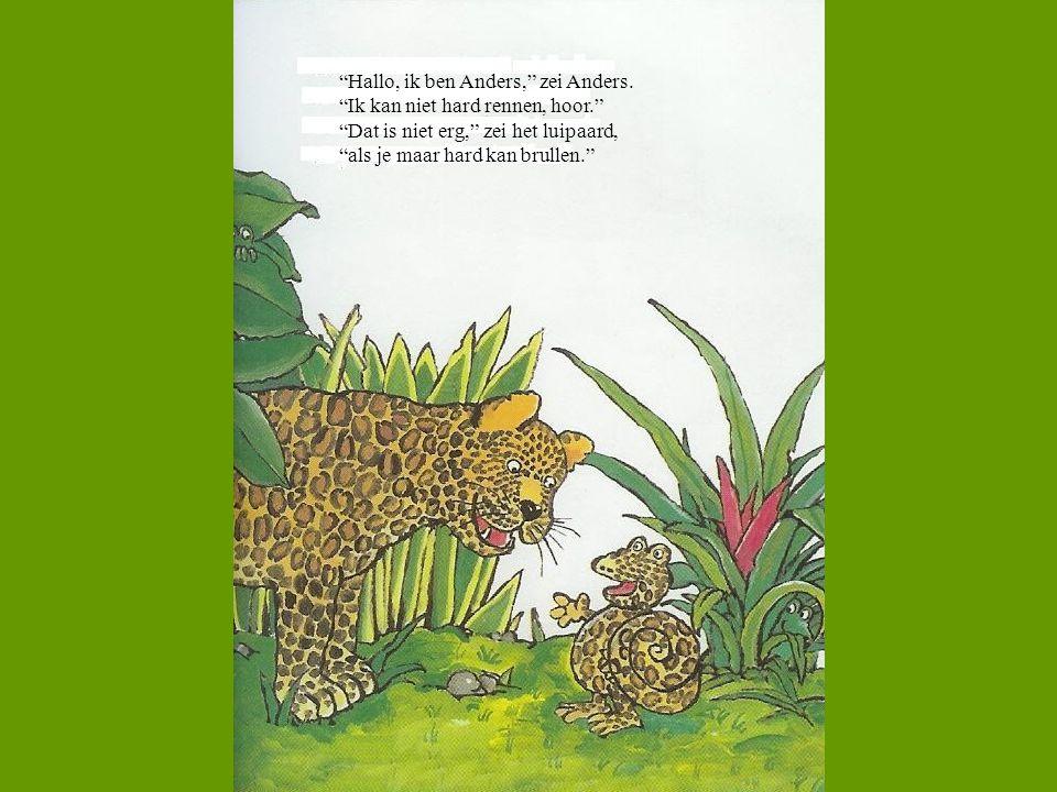 """""""Hallo, ik ben Anders,"""" zei Anders. """"Ik kan niet hard rennen, hoor."""" """"Dat is niet erg,"""" zei het luipaard, """"als je maar hard kan brullen."""""""