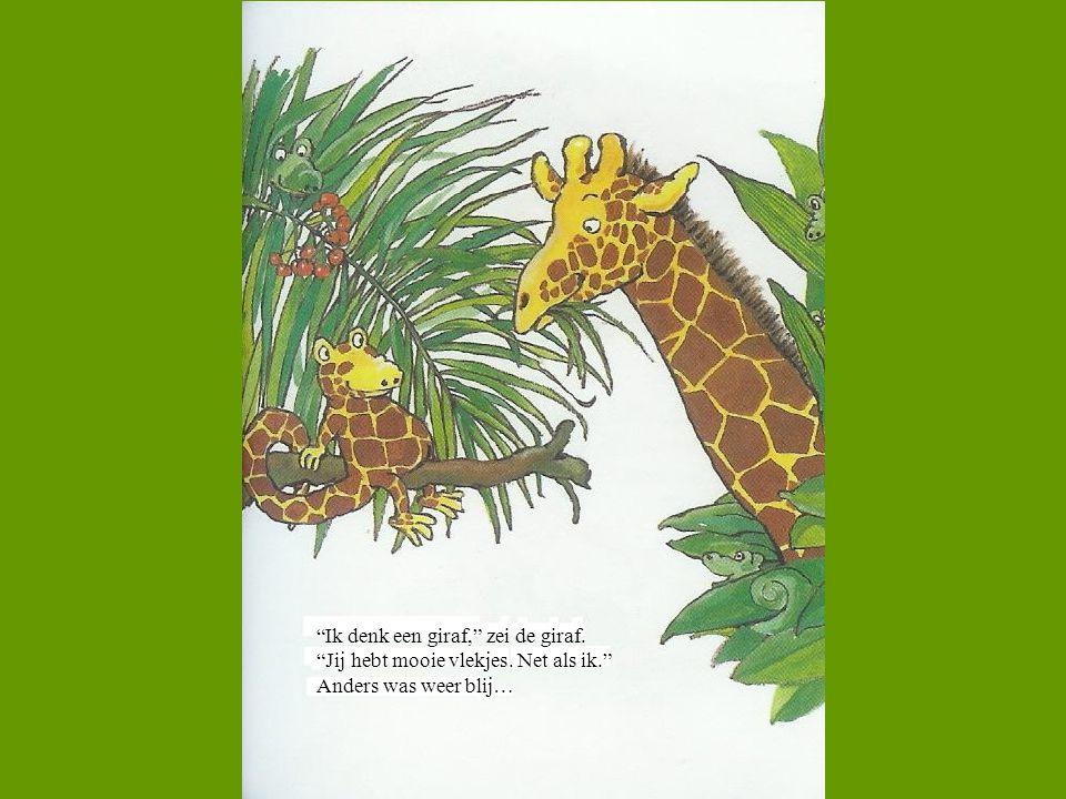 """""""Ik denk een giraf,"""" zei de giraf. """"Jij hebt mooie vlekjes. Net als ik."""" Anders was weer blij…"""