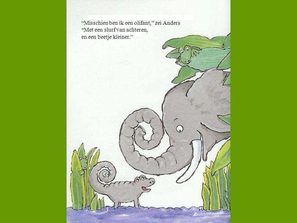 """""""Misschien ben ik een olifant,"""" zei Anders """"Met een slurf van achteren, en een beetje kleiner."""""""