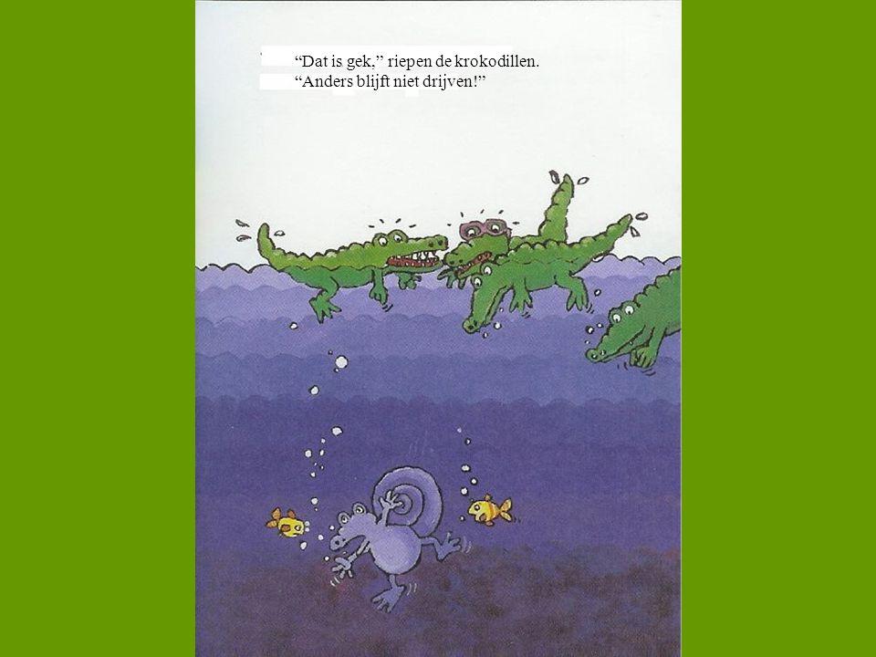 """""""Dat is gek,"""" riepen de krokodillen. """"Anders blijft niet drijven!"""""""
