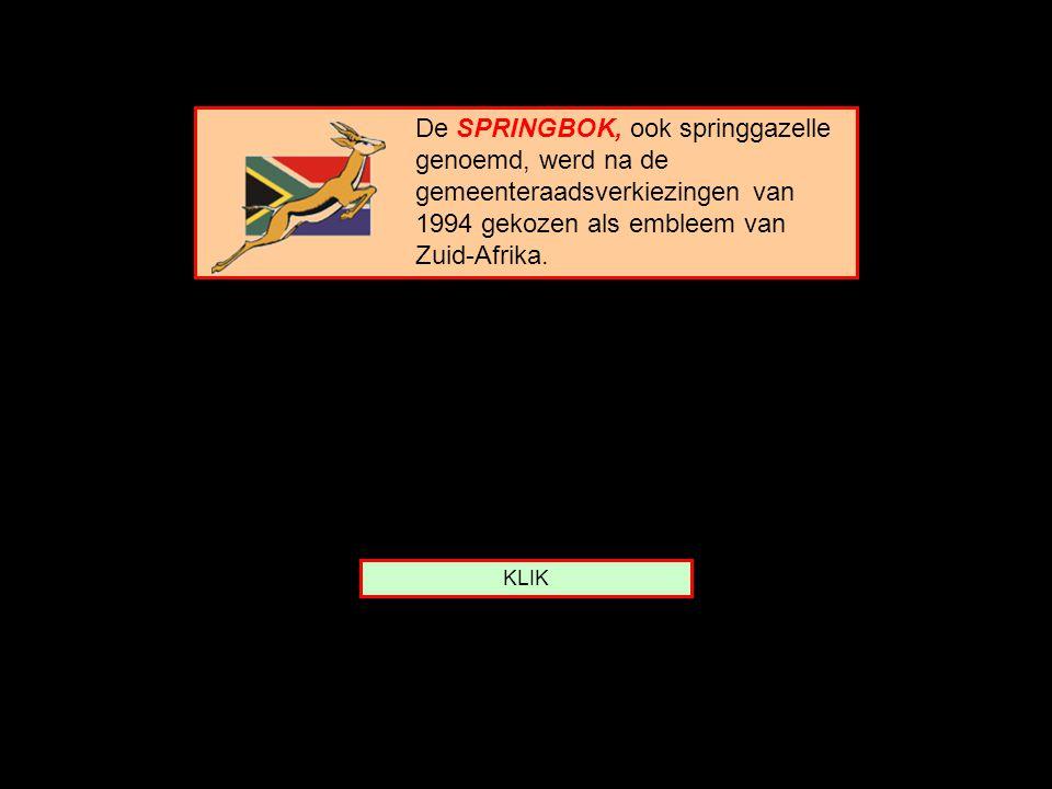 Van welk land is de SPRINGBOK het embleem ? Zuid-Afrika Kenia Tanzania