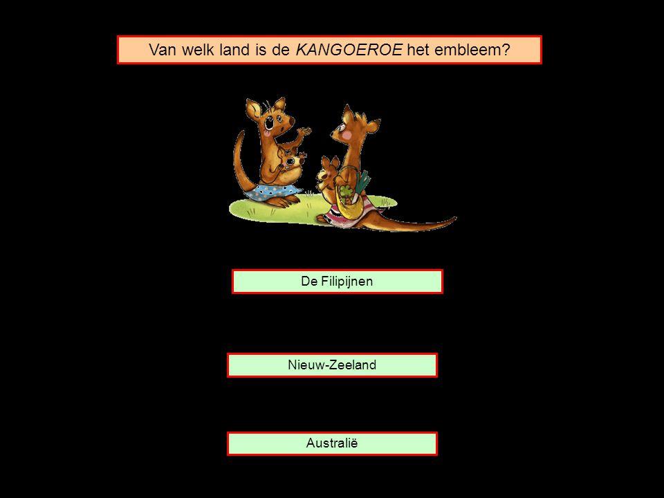 Van welk land is de KANGOEROE het embleem? Nieuw-Zeeland De Filipijnen Australië