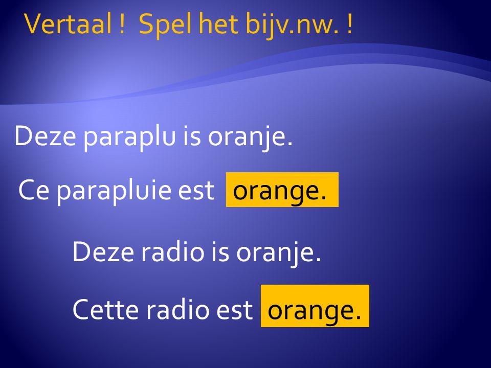 Deze paraplu is oranje. Vertaal . Spel het bijv.nw.