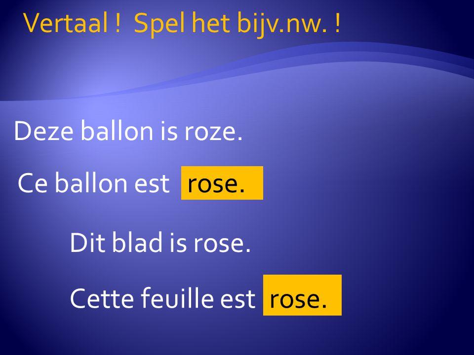 Deze ballon is roze.Vertaal . Spel het bijv.nw. Ce ballon est rose.