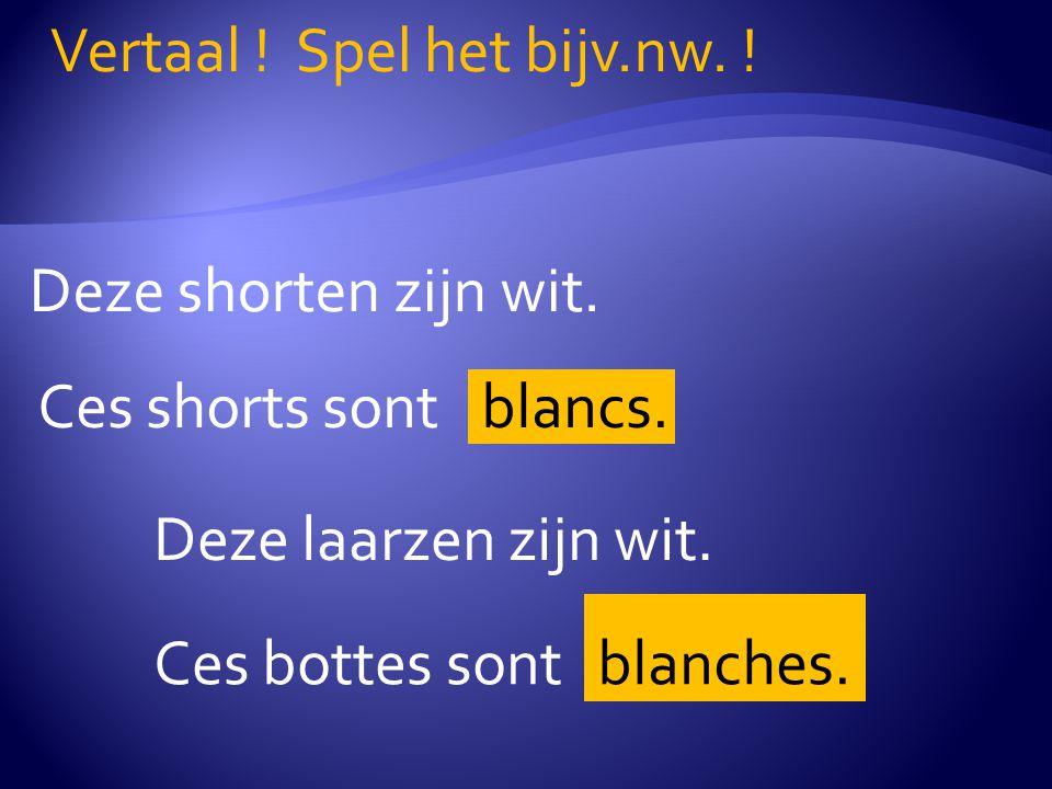 Deze shorten zijn wit. Vertaal . Spel het bijv.nw.