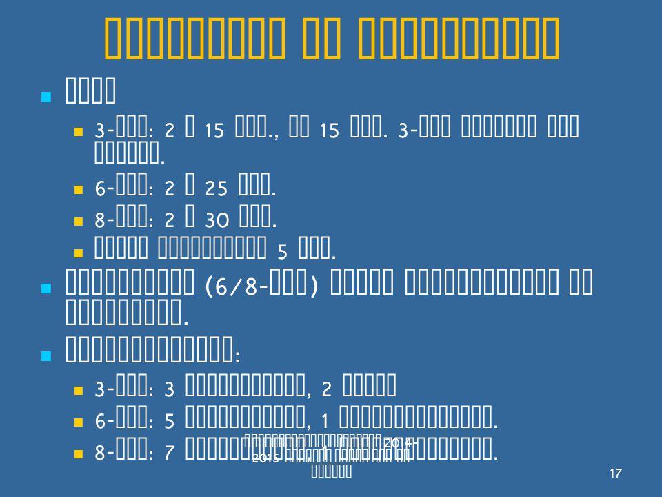 Wedstrijd en spelregels Duur 3- tal : 2 x 15 min., na 15 min.