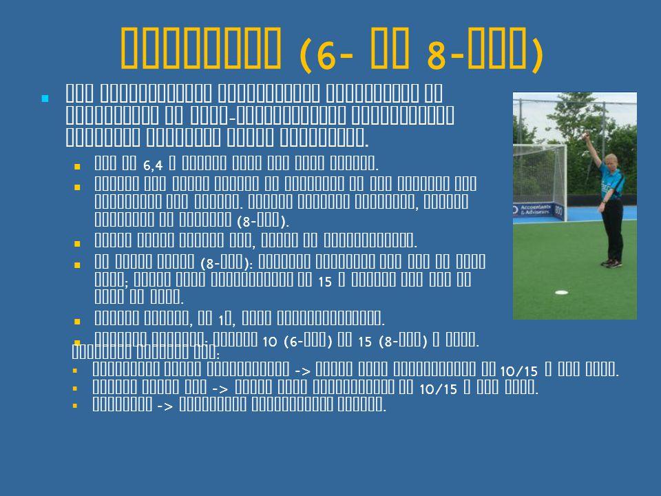 Strafbal (6- en 8- tal ) Bij opzettelijke overtreding verdediger in doelgebied of niet - opzettelijke overtreding waardoor doelpunt wordt voorkomen.
