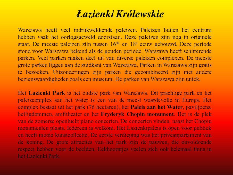 Łazienki Królewskie Warszawa heeft veel indrukwekkende paleizen. Paleizen buiten het centrum hebben vaak het oorlogsgeweld doorstaan. Deze paleizen zi