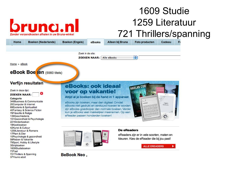 1609 Studie 1259 Literatuur 721 Thrillers/spanning