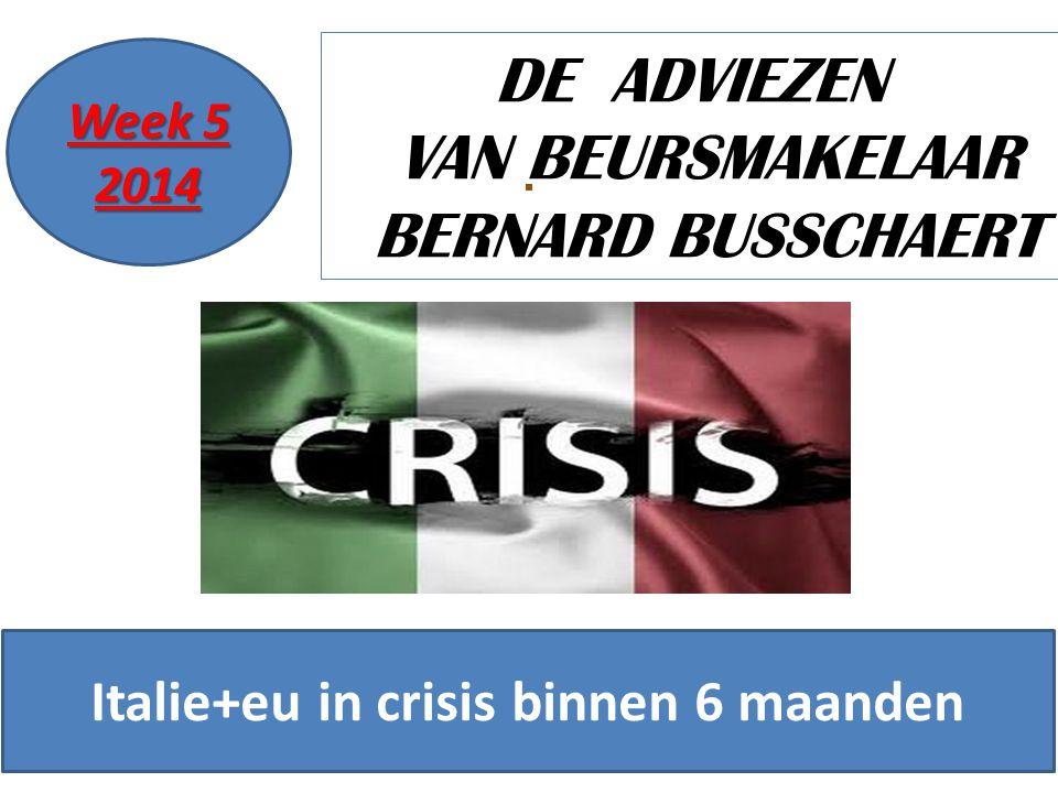 19/11/20141 DE ADVIEZEN VAN BEURSMAKELAAR BERNARD BUSSCHAERT Week 5 2014 Italie+eu in crisis binnen 6 maanden