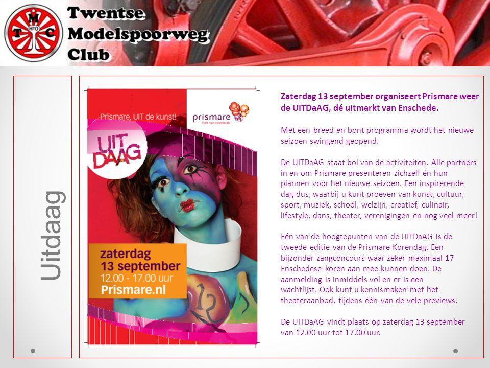 Uitdaag Zaterdag 13 september organiseert Prismare weer de UITDaAG, dé uitmarkt van Enschede. Met een breed en bont programma wordt het nieuwe seizoen