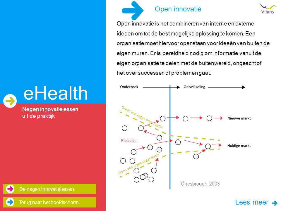 eHealth Open innovatie is het combineren van interne en externe ideeën om tot de best mogelijke oplossing te komen.