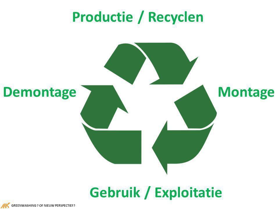 Productie / Recyclen Gebruik / Exploitatie MontageDemontage GREENWASHING OF NIEUW PERSPECTIEF