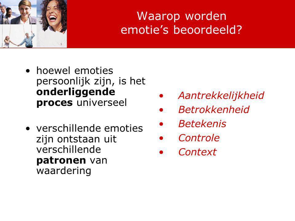 Waarop worden emotie's beoordeeld? hoewel emoties persoonlijk zijn, is het onderliggende proces universeel verschillende emoties zijn ontstaan uit ver