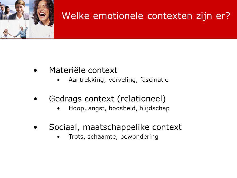 Materiële context Aantrekking, verveling, fascinatie Gedrags context (relationeel) Hoop, angst, boosheid, blijdschap Sociaal, maatschappelike context Trots, schaamte, bewondering Welke emotionele contexten zijn er